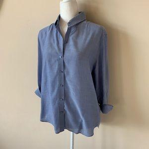 & other stories blue woven button down shirt #1761